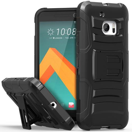 HTC 10 Holster Case, REDshield [Black] Supreme Protection Hard Plastic on Silicone Skin Dual Layer Hybrid Case