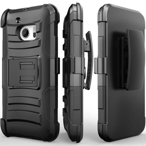 [HTC 10] Holster Case, REDshield [Black] Supreme Protection Hard Plastic on Silicone Skin Dual Layer Hybrid Case
