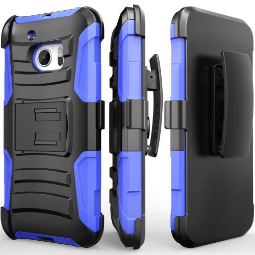 HTC 10 Holster Case, REDshield [Blue] Supreme Protection Hard Plastic on Silicone Skin Dual Layer Hybrid Case