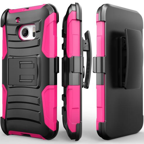 [HTC 10] Holster Case, REDshield [Hot Pink] Supreme Protection Hard Plastic on Silicone Skin Dual Layer Hybrid Case