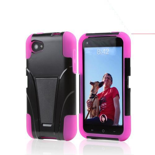 Black Hard Case w/ Kickstand Over Hot Pink Silicone for HTC First