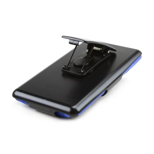 Black Hard Case w/ Kickstand on Blue Silicone Skin Case w/ Holster for HTC 8XT