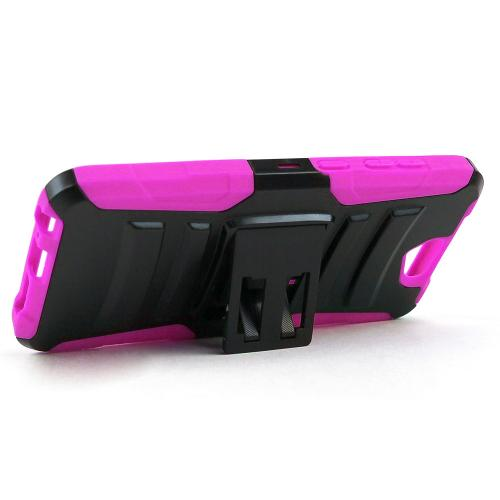 HTC One A9 Holster Case, [Hot Pink] Supreme Protection Plastic on Silicone Dual Layer Hybrid Case