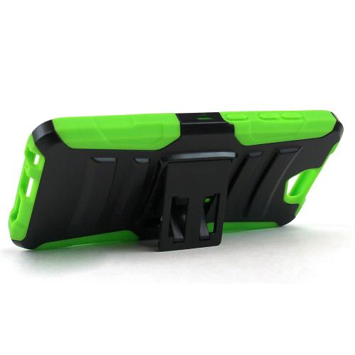 HTC One A9 Holster Case, [Neon Green] Supreme Protection Plastic on Silicone Dual Layer Hybrid Case