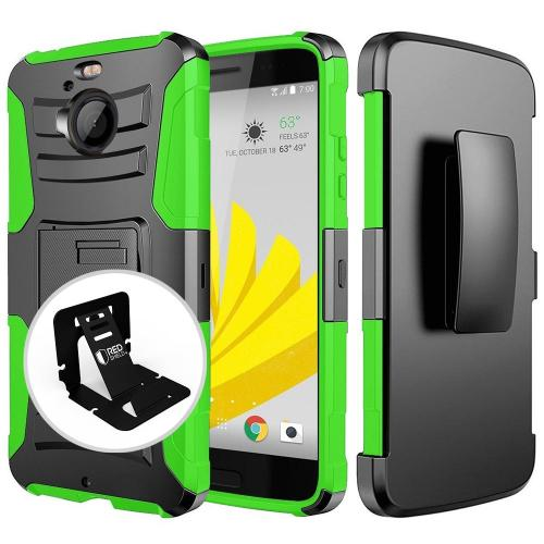 [HTC Bolt] Case, REDshield [GREEN] Dual Layer Holster w/ Kickstand & Belt Clip