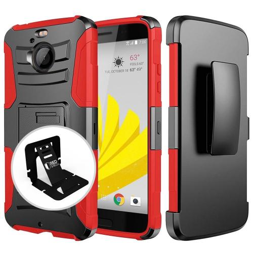 [HTC Bolt] Case, REDshield [RED] Dual Layer Holster w/ Kickstand & Belt Clip