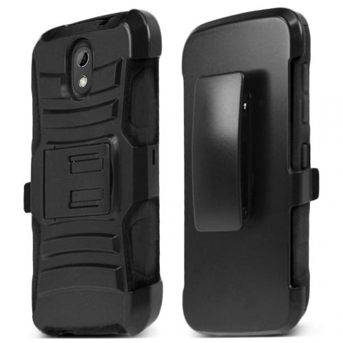 HTC Desire 526 Holster Case, [Black] Supreme Protection Plastic on Silicone Dual Layer Hybrid Case