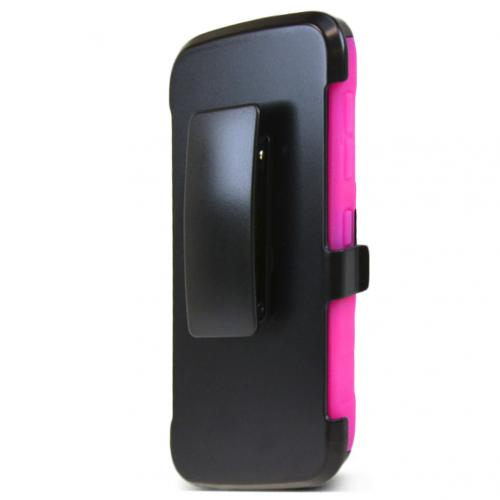 HTC Desire 526 Holster Case, [Hot Pink] Supreme Protection Plastic on Silicone Dual Layer Hybrid Case