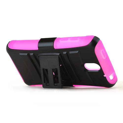 Black HTC Desire 610 Dual Layer Hard Case w/ Kickstand on Hot Pink Silicone Skin Case; Includes Holster w/ Swivel Belt Clip w/ Holster