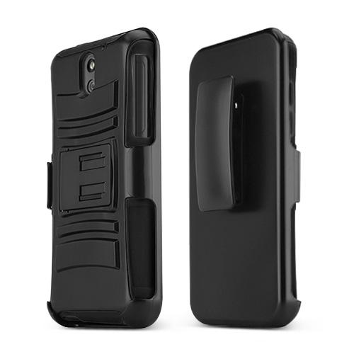 Black HTC Desire 610 Dual Layer Hard Case w/ Kickstand on Black Silicone Skin Case; Includes Holster w/ Swivel Belt Clip