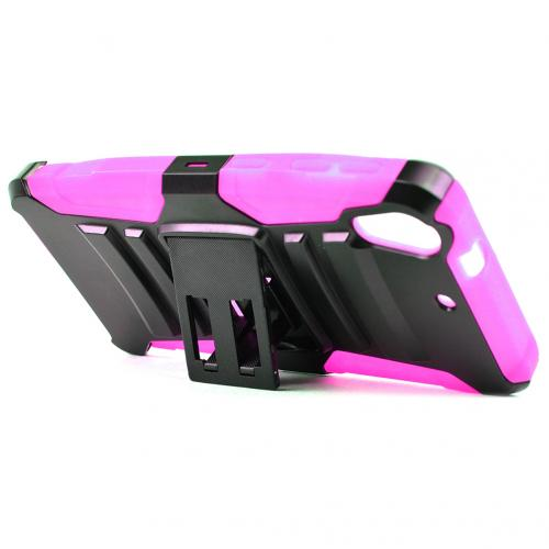 HTC Desire 626/ 626S Holster Case, [Hot Pink] Supreme Protection Plastic on Silicone Dual Layer Hybrid Case