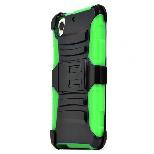 HTC Desire 626/ 626S Holster Case, [Neon Green] Supreme Protection Plastic on Silicone Dual Layer Hybrid Case