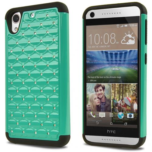 HTC Desire 626/ 626S Bling Case, [Mint/ Black] Supreme Protection Plastic on Silicone Dual Layer Hybrid Case