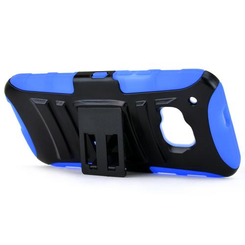 HTC One M9 Case, [Blue / Black]  Heavy Duty Dual Layer Hybrid Holster Case with Kickstand and Locking Belt Swivel Clip