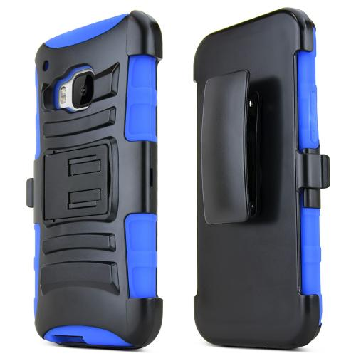 One M9 Case, [Blue / Black] Supreme Protection Plastic on Silicone Dual Layer Hybrid Case for HTC One M9