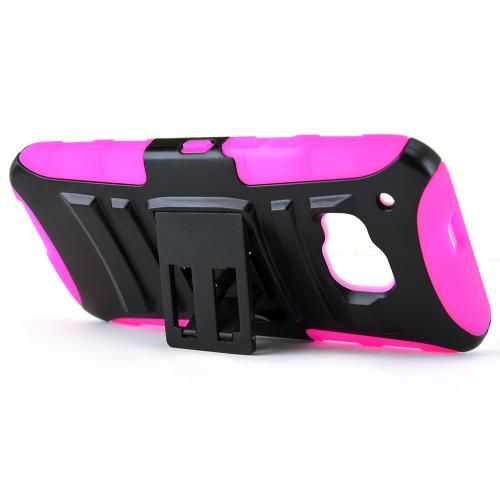 HTC One M9 Case, [Hot Pink / Black]  Heavy Duty Dual Layer Hybrid Holster Case with Kickstand and Locking Belt Swivel Clip