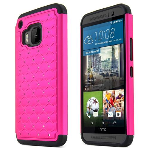 HTC One M9 Case, [Hot Pink / Black]  Supreme Protection Plastic on Silicone Dual Layer Hybrid Case