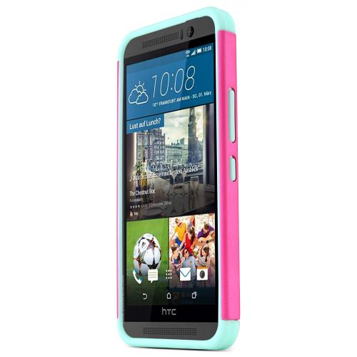 HTC One M9 Case, [Hot Pink / Teal]  Supreme Protection Plastic on Silicone Dual Layer Hybrid Case