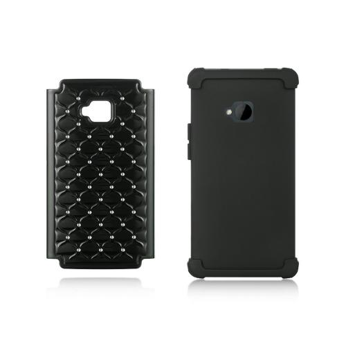 Black Hard Cover w/ Bling Over Black Silicone for HTC One