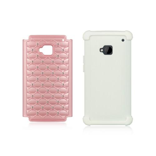 Baby Pink Hard Cover w/ Bling Over White Silicone for HTC One