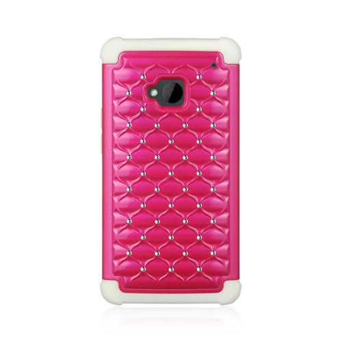 Hot Pink Hard Cover w/ Bling Over White Silicone for HTC One