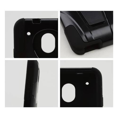 Black Hard Case w/ Kickstand Over Black Silicone Skin Case for HTC One Mini