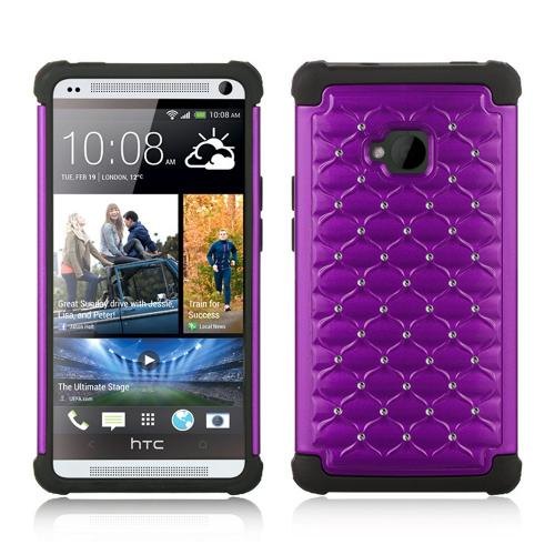 Purple Hard Cover w/ Bling Over Black Silicone for HTC One