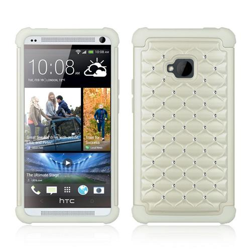 White Hard Cover w/ Bling Over White Silicone for HTC One