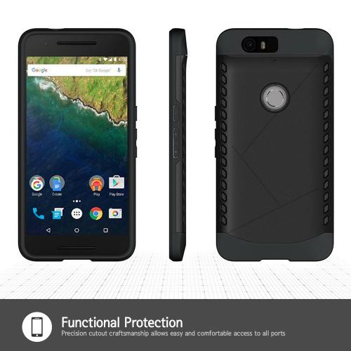 Huawei Google Nexus 6P Case, [Black] Supreme Protection Plastic on Silicone Dual Layer Hybrid Case