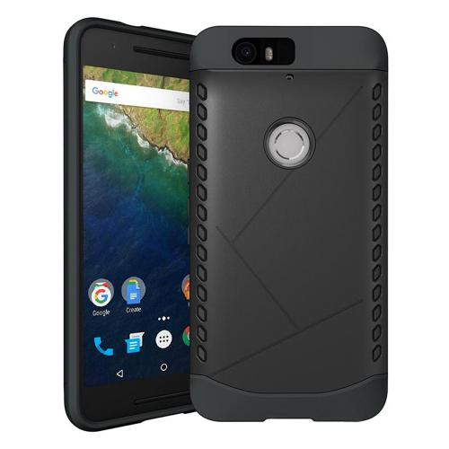 Manufacturers Huawei Google Nexus 6P Case, [Black] Supreme Protection Plastic on Silicone Dual Layer Hybrid Case Silicone Cases / Skins