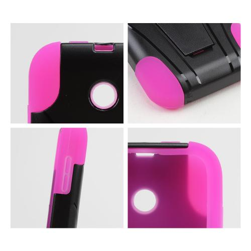 Black Hard Case w/ Kickstand on Hot Pink Silicone Skin Case for T-Mobile Prism 2