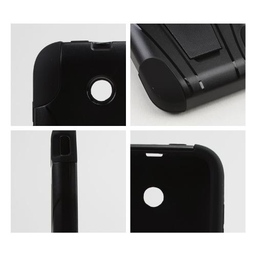 Black Hard Case w/ Kickstand on Black Silicone Skin Case for T-Mobile Prism 2