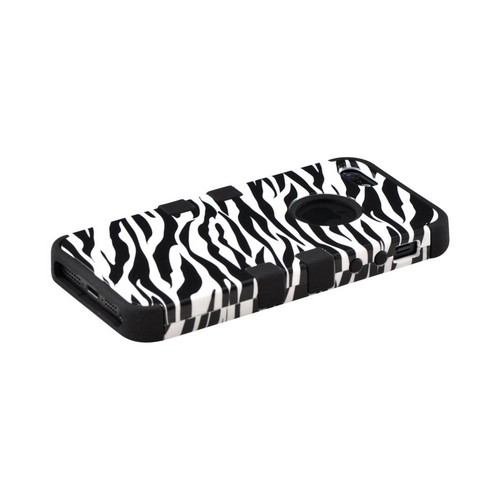 Apple iPhone 5 Hard Case Over Silicone - Black/ White Zebra