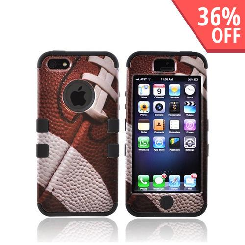 Apple iPhone SE / 5 / 5S  Case,  [Brown/ White Football]  Heavy Duty Hard Case Over Silicone