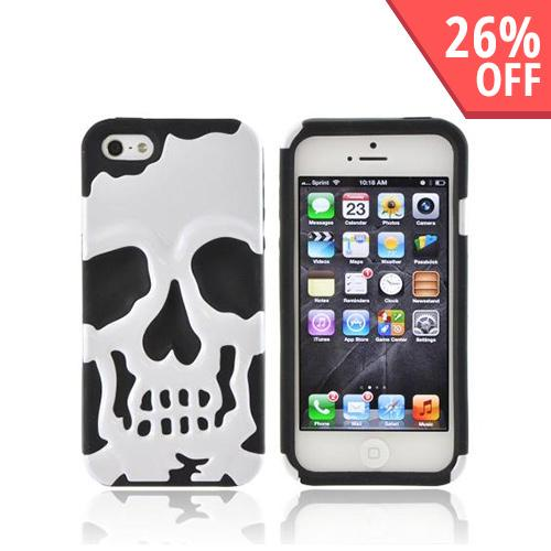 Apple iPhone 5/5S Hard Case Over Silicone - White Skull on Black