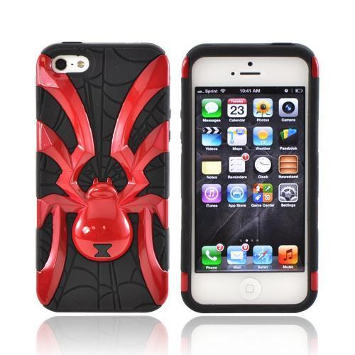 Apple iPhone 5/5S Hard Case Over Silicone - Red Spider on Black