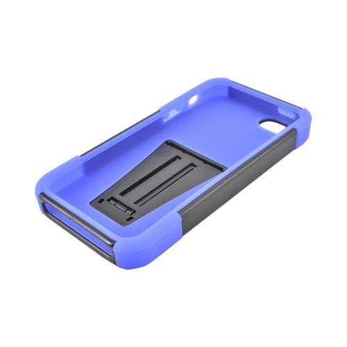 Apple iPhone 5/5S Hard Case Over Silicone w/ Stand - Black/ Blue