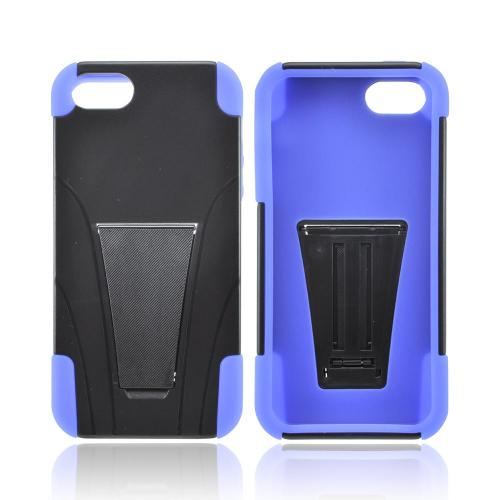 Apple iPhone SE / 5 / 5S  Case,  [Black/ Blue]  Heavy Duty Hard Case Over Silicone w/ Stand