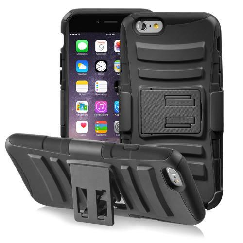 Apple iPhone 6/ 6S Case,  [Black]  Heavy Duty Dual Layer Hybrid Holster Case with Kickstand and Locking Belt Swivel Clip
