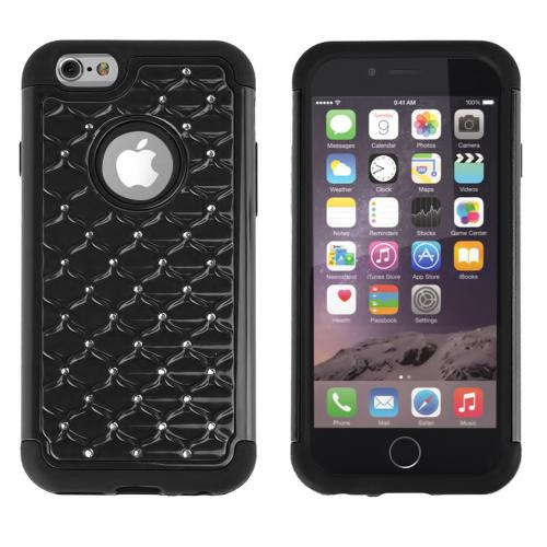 Apple iPhone 6/ 6S Case,  [Black] Dual Layer Bling Over Slim & Flexible Anti-shock Crystal Silicone Protective TPU Gel Skin Case Cover