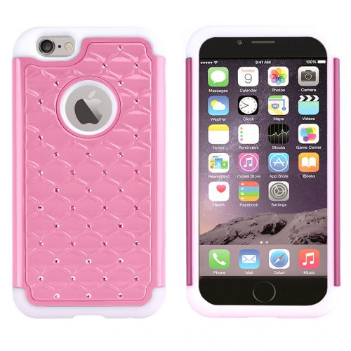 Baby Pink Dual Layer Hard Cover w/ Bling Over White Silicone Skin Case Made for Apple iPhone 6 (4.7 inch) - Pretty Protection!