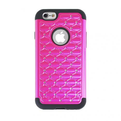 Apple iPhone 6/ 6S Case,  [Hot Pink/ Black] Dual Layer Bling Over Slim & Flexible Anti-shock Crystal Silicone Protective TPU Gel Skin Case Cover