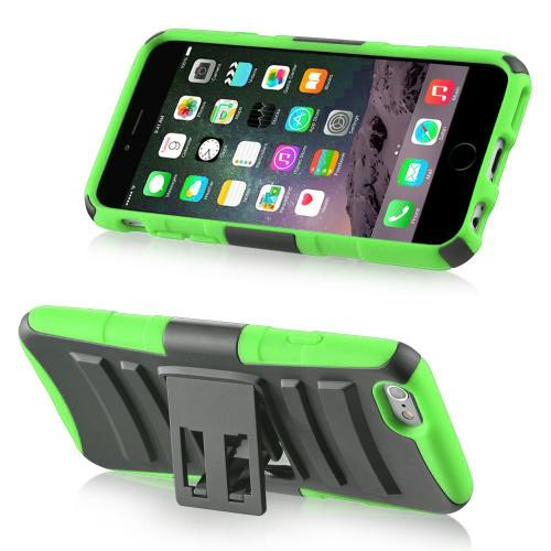 Apple iPhone 6/ 6S Case,  [Black/ Lime Green]  Heavy Duty Dual Layer Hybrid Holster Case with Kickstand and Locking Belt Swivel Clip