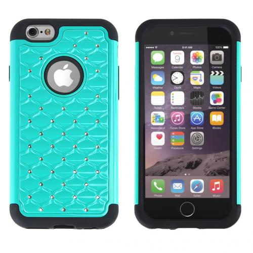 Apple iPhone 6/ 6S Case,  [Dark Mint/ Black] Dual Layer Bling Over Slim & Flexible Anti-shock Crystal Silicone Protective TPU Gel Skin Case Cover