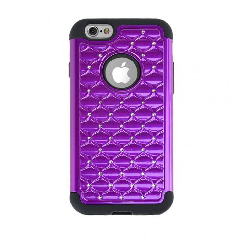 Apple iPhone 6/ 6S Case,  [Purple/ Black] Dual Layer Bling Over Slim & Flexible Anti-shock Crystal Silicone Protective TPU Gel Skin Case Cover