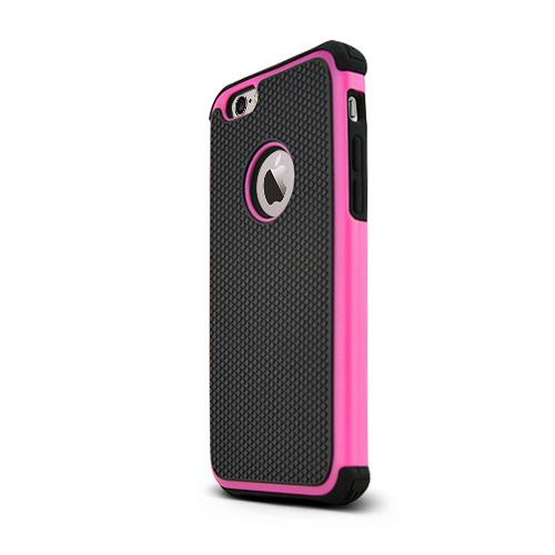 Apple iPhone 6/ 6S Case,  [Hot Pink/ Black] Textured Hybrid Slim & Flexible Anti-shock Crystal Silicone Protective TPU Gel Skin Case Cover