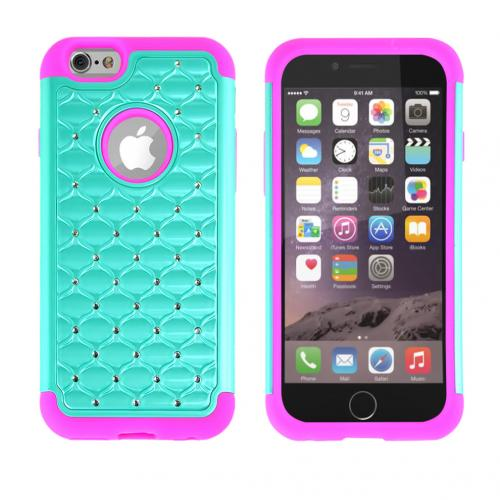 Light Mint Apple iPhone 6 (4.7 inches) Dual Layer Hard Cover w/ Bling Over Hot Pink Silicone Skin Case - Pretty Protection!