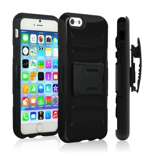 Apple iPhone 6 PLUS/6S PLUS (5.5 inch) Heavy Case,  [Black]  Heavy Duty Dual Layer Hybrid Holster Case with Kickstand and Locking Belt Swivel Clip
