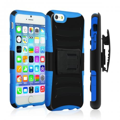Apple iPhone 6 PLUS/6S PLUS (5.5 inch) Heavy Case,  [Black/ Blue]  Heavy Duty Dual Layer Hybrid Holster Case with Kickstand and Locking Belt Swivel Clip