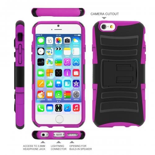 Apple iPhone 6 PLUS/6S PLUS (5.5 inch) Heavy Case,  [Black/ Hot Pink]  Heavy Duty Dual Layer Hybrid Holster Case with Kickstand and Locking Belt Swivel Clip